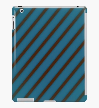 Brown stripes on blue iPad Case/Skin