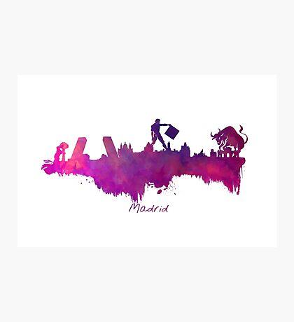 Madrid skyline city purple Photographic Print