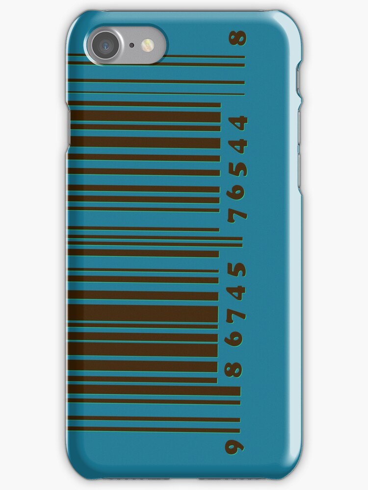 Bar code on blue by CatchyLittleArt