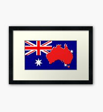 The map, flag of Australia Framed Print