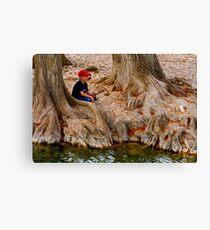Fishing Among the Cypress Canvas Print