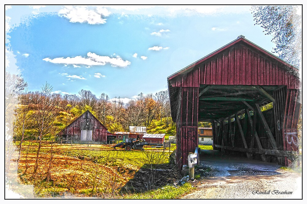 OLD BARN AND OLDER COVERED BRIDGE by Randy Branham