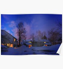 Warmth of home on a snowy eve Poster
