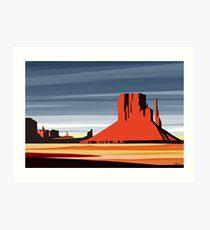 Arizona Desert Landscape Sunset Illustration Art Print