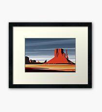 Arizona Desert Landscape Sunset Illustration Framed Print