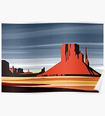 Arizona Desert Landscape Sunset Illustration Poster