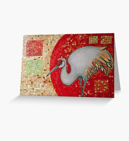 Red Curve, Quadrilaterals and Crane Greeting Card