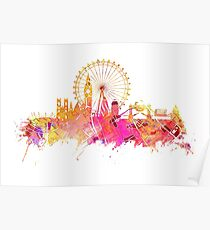 London skyline map city pink Poster