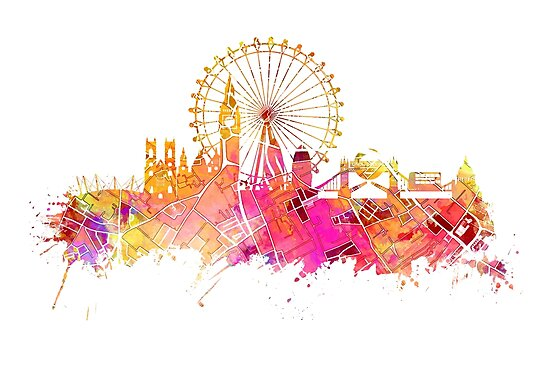 London skyline map city pink by JBJart