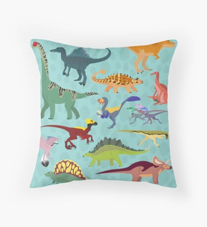 Dazzling Dinos Throw Pillow
