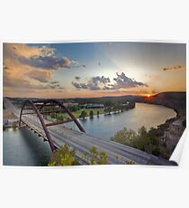 Pennybacker Bridge Summer at Sunset - Austin, Texas Poster