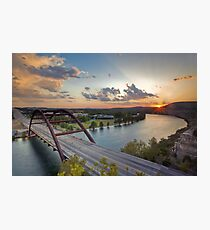 Pennybacker Bridge Summer at Sunset - Austin, Texas Photographic Print