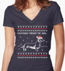 Dachshund Through The Snow, Ugly Christmas Sweater Women's Fitted V-Neck T-Shirt
