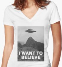 Want2Believe (Machu Picchu) Women's Fitted V-Neck T-Shirt