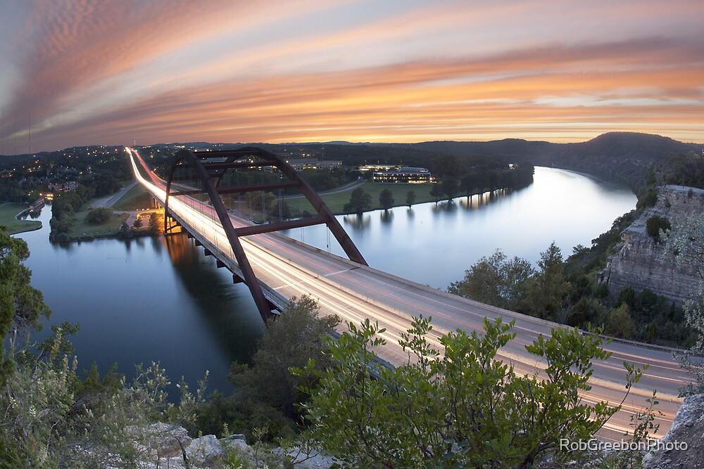 Pennybacker Bridge Sunset near Austin, Texas 2 by RobGreebonPhoto