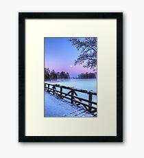 Moon Over Misty Frozen Lake Framed Print