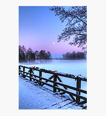 Moon Over Misty Frozen Lake Photographic Print