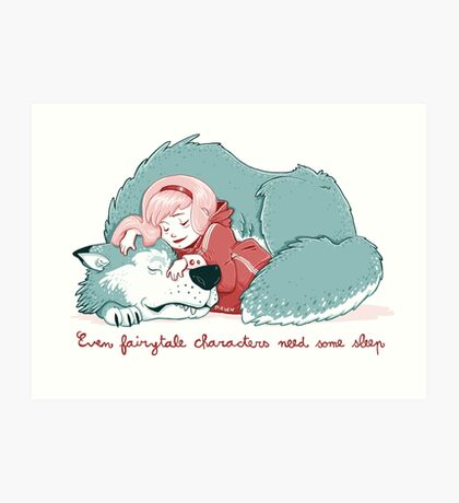 Red sleeping Art Print