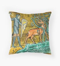 Medieval Knight slaying a Stag Throw Pillow