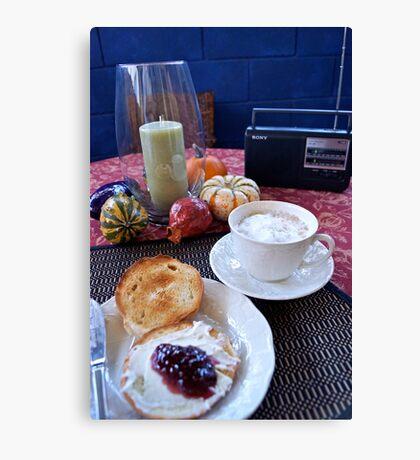 Sunday Morning Cuban Coffee & A Bagel! Canvas Print