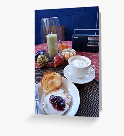 Sunday Morning Cuban Coffee & A Bagel! Greeting Card