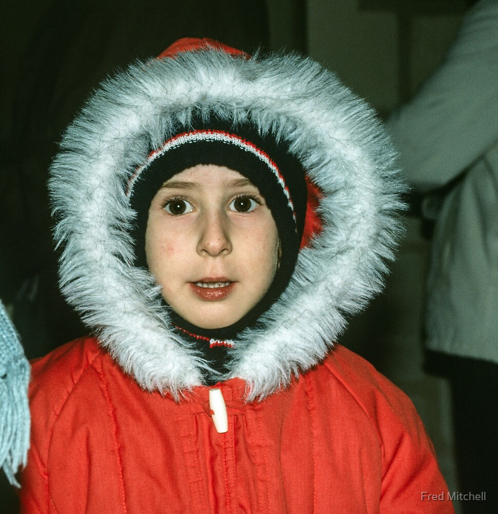Girl in cold weather gear Museum Saumur 19840222 0055 by Fred Mitchell