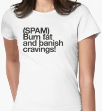 (Spam) Burn fat! (Black type) Women's Fitted T-Shirt
