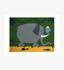 Elephants and Hunters Art Print