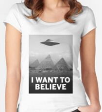 Want2Believe (Giza) Women's Fitted Scoop T-Shirt