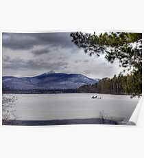 Ice Fishing on Lake Chocorua Poster