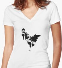 Continent Chicken Women's Fitted V-Neck T-Shirt