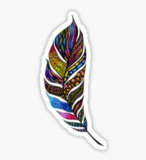 Colorful Watercolor Hand Drawn Tangle Feather Sticker