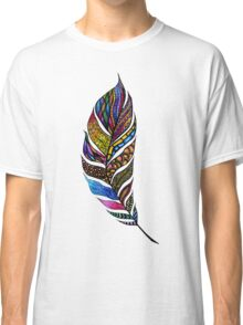 Colorful Watercolor Hand Drawn Tangle Feather Classic T-Shirt