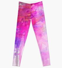 CARNIVAL DREAMS 1 Girly Bubblegum Pink Pastel Sky Whimsical Clouds Abstract Watercolor Painting Leggings