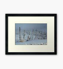 Frosty Fence Framed Print