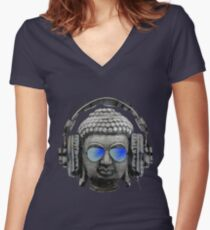 Cool Headphones Hip Hop Groove Buddha Banksy  Women's Fitted V-Neck T-Shirt