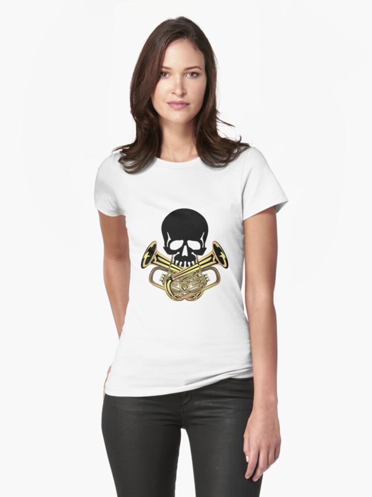 Skull with Tuba Crossbones Womens T-Shirt Front