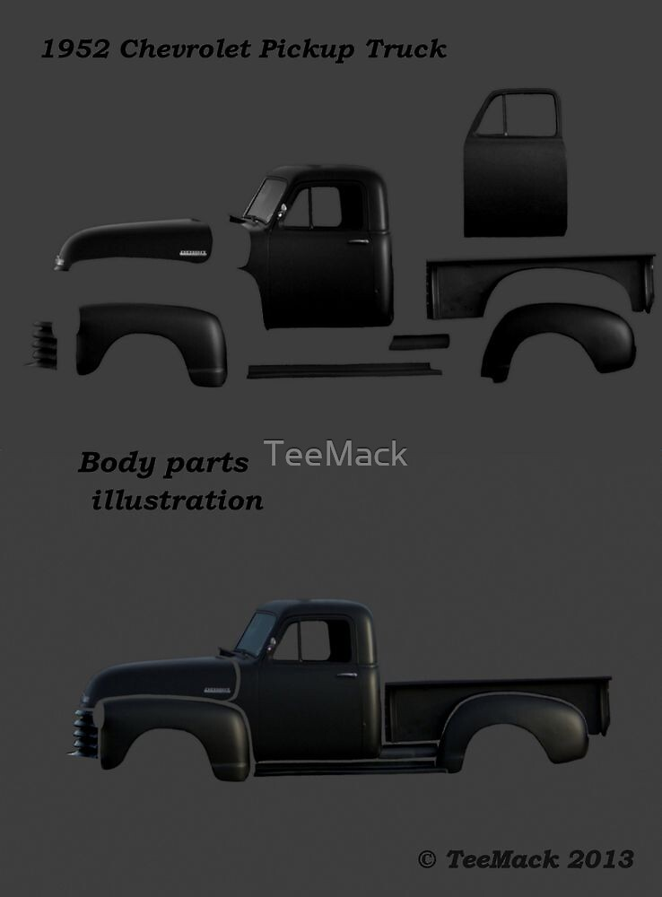 """""""1952 Chevy Pickup Truck Body Parts"""" by TeeMack 