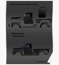 1952 Chevy Pickup Truck Body Parts Poster