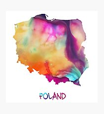 Poland watercolor map Photographic Print