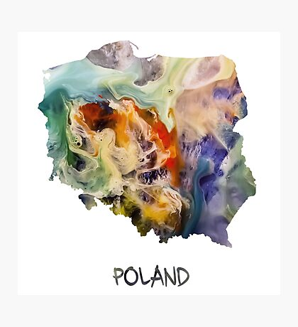 Map of Poland  Photographic Print