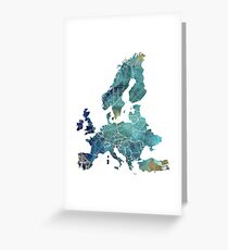Europe Map wind Greeting Card
