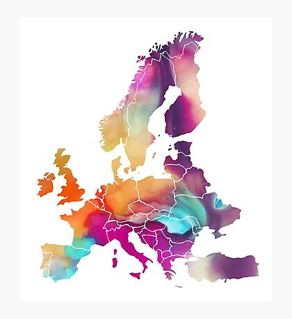 Europe Map colored Photographic Print