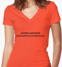 NOTHING IS GUARANTEED Women's Fitted V-Neck T-Shirt