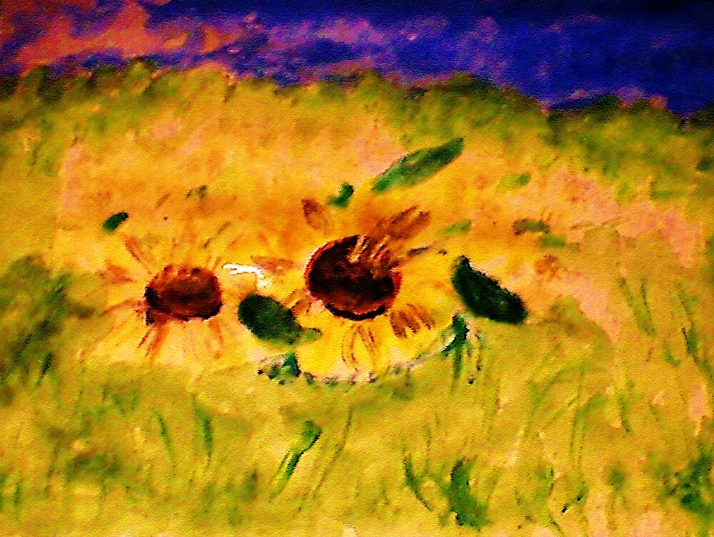 A field of sunflowers, watercolor by Anna  Lewis, blind artist
