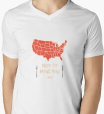Nice to Meat You USA Map Men's V-Neck T-Shirt