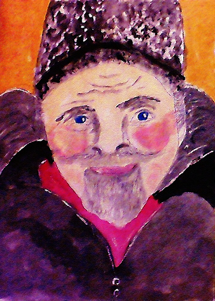 Old man with fur cap, watercolor by Anna  Lewis, blind artist