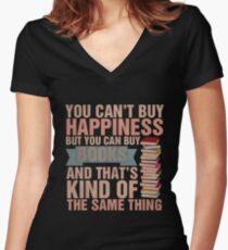 Books=Happiness Women's Fitted V-Neck T-Shirt