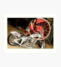 Harley Davidson girl 17 Art Print