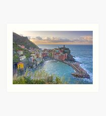 Vernazza Morning Clouds, Cinque Terre, Italy Art Print